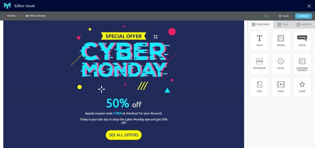 plantilla cyber monday Easymailing