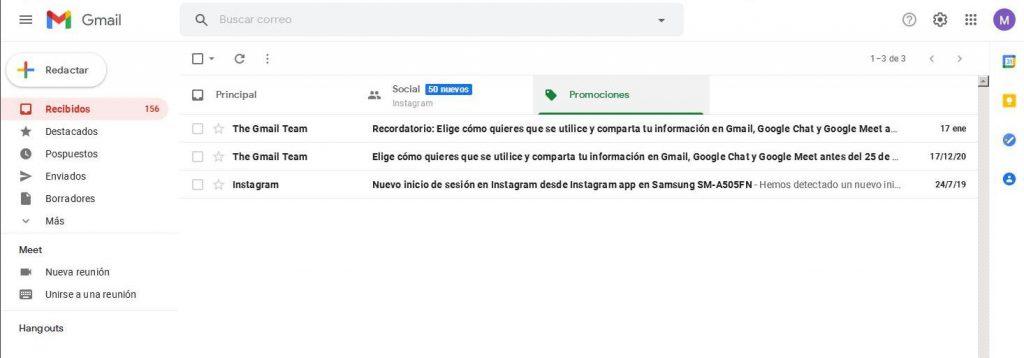 Pestaña promociones gmail