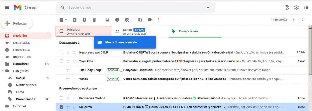 Ejemplo arrastrar correos a pestaña principal gmail